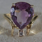 Vintage 14K Yellow Gold Bold Amethyst Diamond Ring, Size 6