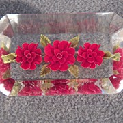 SALE Vintage Fancy Lucite Genuine Flowers Encased Pin Brooch