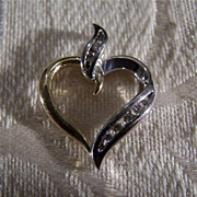 Vintage 14K Yellow White Gold Diamond Heart Pendant