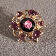 SALE Vintage Enameled Pin Brooch with Purple Rhinestones