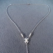 SALE Vintage Sterling Silver Lavaliere Necklace with Pink Quartz and Cultured Pearl Accents