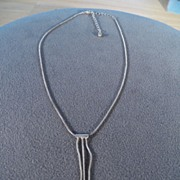 SALE Vintage Sterling Silver Lavaliere Necklace Pendant with Dangling Teardrop Beads
