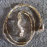 Vintage 14K Yellow Gold Multi Diamond Journey Necklace
