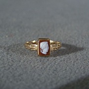 Vintage 14 K Yellow Gold Fancy Carved Cameo Ring,  Size 4  1/2