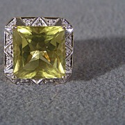 Vintage 14 K Yellow Gold Fancy Huge Square Oro Verde, 16 Round Diamond Heavy Setting Ring,  Size 6 1/2