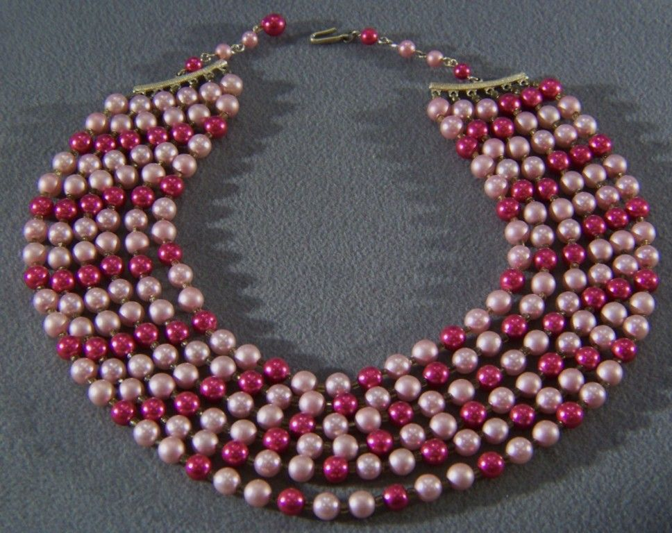 Vintage Shades of Pink Faux Pearl Bold 6 Strand Necklace