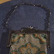 Vintage Detailed Chain Mesh Fancy  Enameled  Purse Handbag