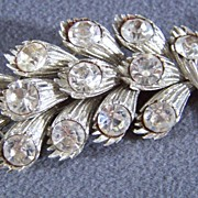 SALE Vintage Coro Bold  Multi  Rhinestone  Leaf Pin Brooch