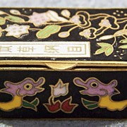 Vintage Enamel Cloisonné Trinket Box Hinged Gold Accent