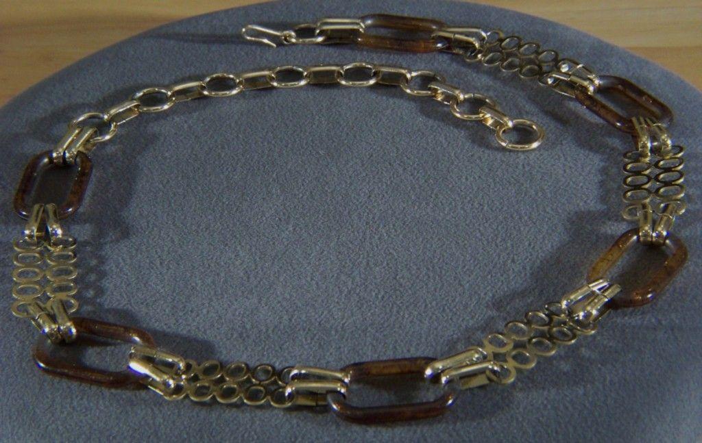 Vintage Massive Multi Lucite Gold Tone Bold Link Belt