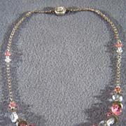 SALE Vintage Sterling Silver Pink Clear Glass Bib Dangle Lavaliere Necklace