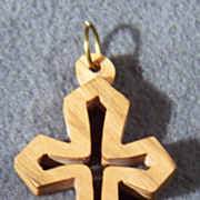 Vintage Wood Bold Danish Modern Cross Pendant Charm
