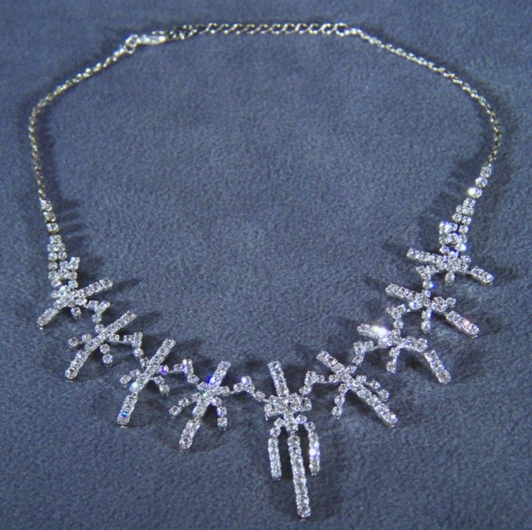 Vintage Silver Tone  Wide  Bib Wide  Fancy Multi Rhinestone Tennis Necklace