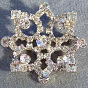 SALE Vintage Multi Cut Large Round Rhinestone Pin Brooch