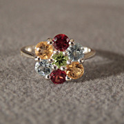SALE Vintage Sterling Silver Ring with Peridot, Citrine, Garnet and Blue Topaz Round Stones, .