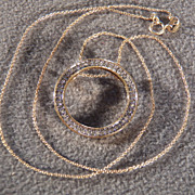 "Vintage Sterling Silver Gold  Overlay 50 Round Diamond Circle  Pendant Charm 18  ""Necklace Chain"