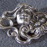 SALE Vintage  Sterling Silver Fancy Figural Pin Brooch