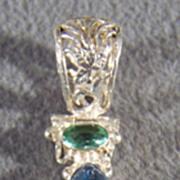 SALE Vintage Sterling Silver Filigree  Striated Blue Quartz Peridot Pendant Charm