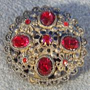 SALE Vintage Fancy Filigree Ruby Red Stone Bold Pin Brooch