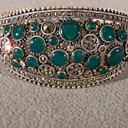 Vintage  Sterling Silver Large Wide  Multi Round Shaped Green Agate Marcasite Wide Cuff Bracelet