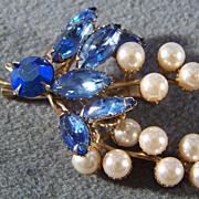 SALE Vintage Blue Aurora Rhinestone Faux Pearl Pin Brooch