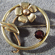 SALE Vintage Ruby Red Rhinestone Round Flower Pin Brooch
