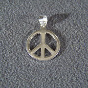 SALE Vintage Sterling Silver  Classic Peace Sign Pendant Charm