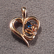 Vintage  14 K Yellow Gold Marquise Golden Citrine Blue Sapphire Diamond  Fancy Bold Heart Pendant Charm Enhancer