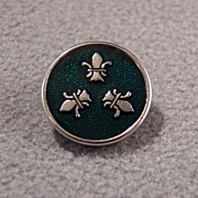 SALE Vintage Steele Enamel Detailed Fancy Fleur Dis Lis Button