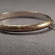 Vintage  Sterling Silver Fancy Etched  Bangle Bracelet