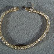 Vintage  Sterling Silver Gold  Overlay 44 Round White Topaz Tennis Line  Bracelet