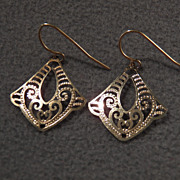 SALE Vintage Sterling Silver w/Gold Overlay Fancy Filigree Scroll Earrings~~