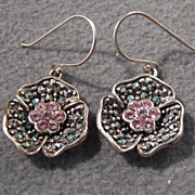 SALE Vintage Sterling Silver Breathtaking Floral Design Pink Topaz & Marcasite Earrings~~