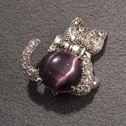 SALE Vintage Silver Tone Rhinestone & Purple Stone Glamorous CAT Brooch, Darling!~~