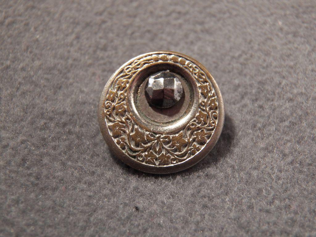 Vintage Stamped Brass & Cut Steel Fancy Button, So Elegant!~~