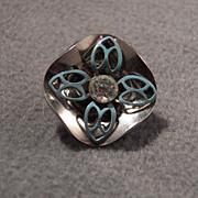 Vintage Elegant Fancy Steel Cup w/Rhinestone Elegant Button, Gorgeous!~~