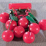 Vintage Cherry Red Green Bakelite 8 Dangling Cherry Pin Brooch