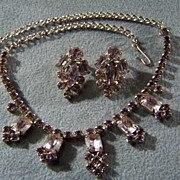 SALE Vintage Pink and Purple Rhinestone Bib  Necklace Earring Set