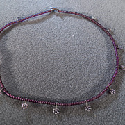SALE Vintage Darling Purple Glass Bead Necklace w/Silver Tone Flower Charms, Just Adorable!~~