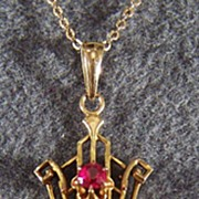 Vintage 10K Gold Ruby Cultured Pearl Fancy Lavaliere Necklace