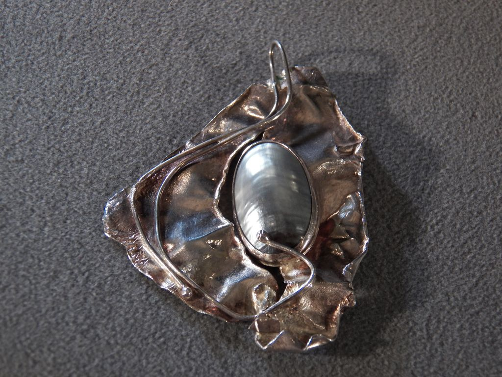 Vintage Sterling Silver & Genuine Cultured Pearl Exquisite Big Bold Pendant, A Stunning Work of Wearable Art!~~