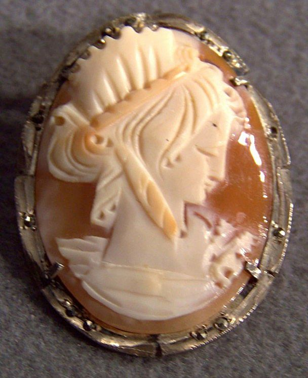 Vintage Sterling Silver Marcasite Roman-Design Cameo Pin Pendant Brooch