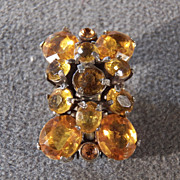 SALE Vintage Gold Tone & Golden Rhinestones Glamorous Jeweled Clip, So Eye Catching!~~