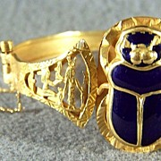 Vintage 18K Gold Enamel Egyptian-Style Scarab Bracelet
