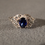 SALE Sterling Silver Sapphire Ring with Marcasite set in a Decorative Setting, Size 8