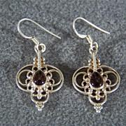 SALE Silver Rhodolite Garnet Long Dangle Euro Wire Earrings     $55