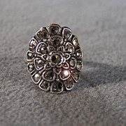 SALE Sterling Silver Marcasite Ring in the Shape of a Huge Flower, size 5