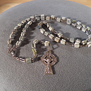 SALE Vintage Silver Tone Unique Square Shaped Striated Green Agate Stone / Bead Cross Rosary