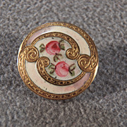 SALE Vintage Fancy French Champleve Enameled Button