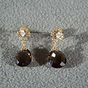 Vintage 10 K Yellow Gold  Tear Drop Smokey Quartz  8  Diamond  Dangle Pierced Earrings               7   Oval Cut  Tanzanite  Wedding  Band Ring 7